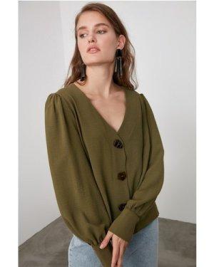 Trendyol Little Mistress x Trendyol Khaki Button Detailed Blouse size: