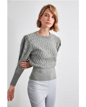 Trendyol Little Mistress x Trendyol Grey Puff Sleeve Knit size: M, col