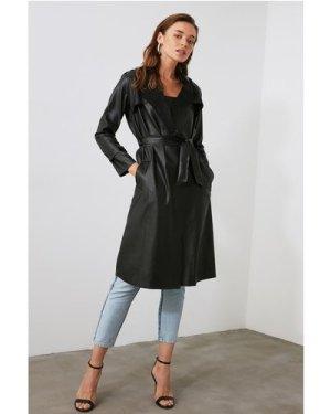 Trendyol Little Mistress x Trendyol Black PU Tie Trench Coat size: 14
