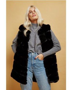 Black Faux Fur Gilet size: ONE SIZE