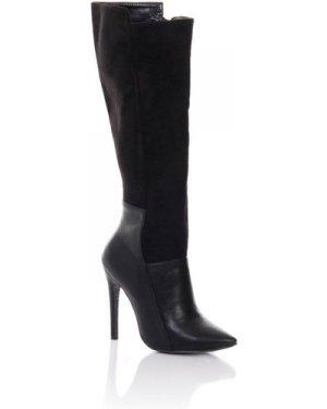 Paper Dolls Footwear Black Mixed Texture Knee Boots size: Footwear 4 U
