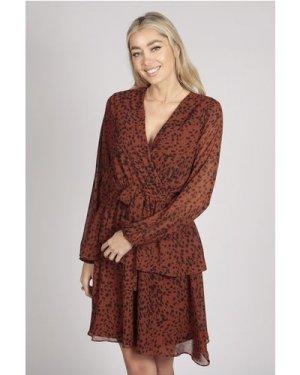 Tenki FULL SLEEVE LEOPARD PRINT LAYER DRESS IN BROWN size: 8 UK, colou