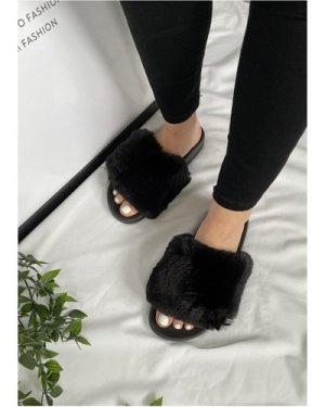 Black Faux-Fur Slipper size: Footwear 8 UK, colour: Black