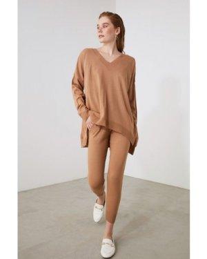 Trendyol Camel V Neck Lounge Co-ord size: S, colour: Camel