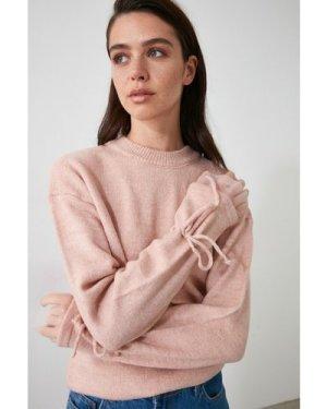 Trendyol Little Mistress x Trendyol Pink Tie Sleeve Knit size: M, colo