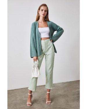 Trendyol Little Mistress x Trendyol Mint Puff Sleeve Button Cardigan s