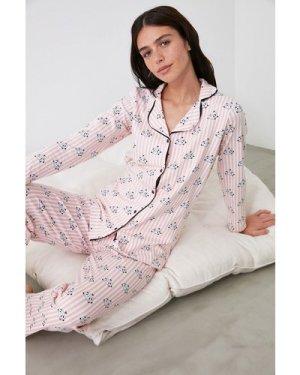 Trendyol Pink Stripe Print Pyjamas size: L, colour: Multi