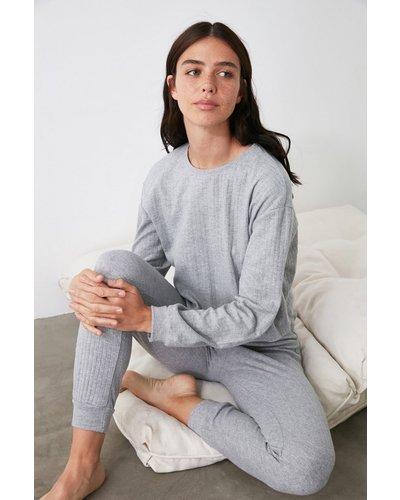 Trendyol Little Mistress x Trendyol Grey Ribbed Pyjamas size: XL, colo