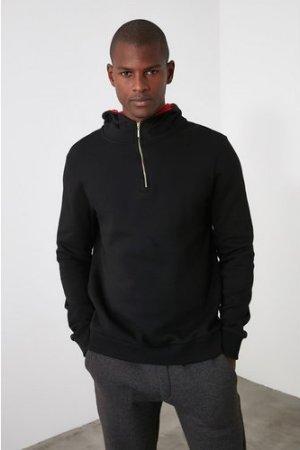Trendyol Men's Black Hoodie With Zip size: XL, colour: Black