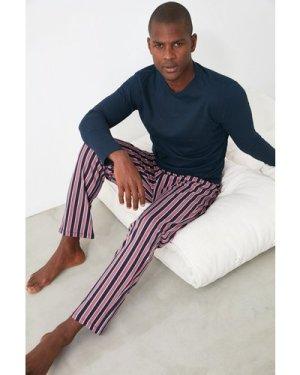 Trendyol Men's Navy Stripe Pyjamas size: L, colour: Multi