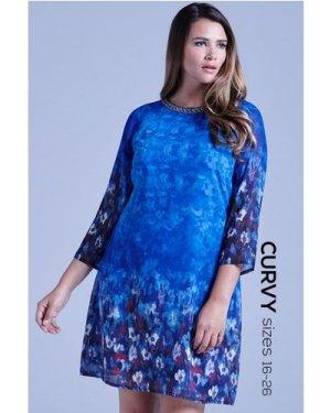 Little Mistress Curvy Curvy Blue Water Paint Floral Shift Dress size: