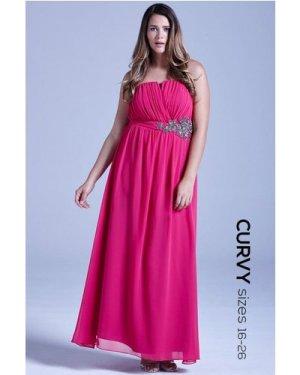 Little Mistress Curvy Pink Floral Embellished Bandeau Maxi Dress size:
