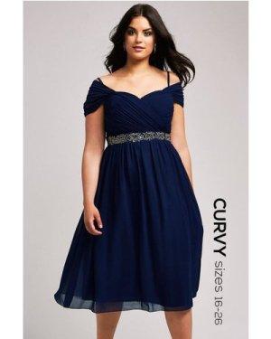 Little Mistress Curvy Navy Off the Shoulder Embellished Dress size: 26