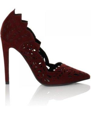 Little Mistress Footwear Burgundy Lazer Cut Court Heel  size: Footwear