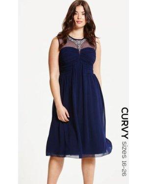Little Mistress Curvy Navy Embellished and Drape Front Midi Dress size