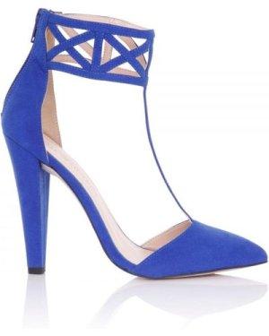 Little Mistress Footwear Artemis Cobalt Geometric Cuff Heels size: Foo