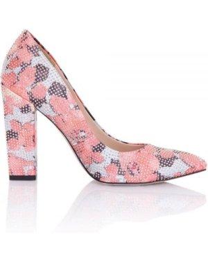 Little Mistress Footwear Asteria Coral Floral Embellished Block Heel C