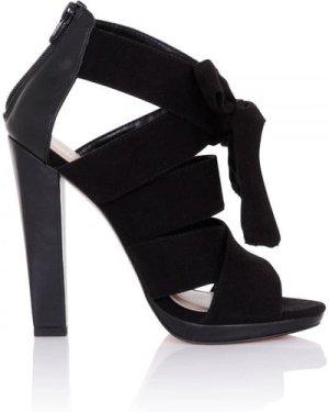 Little Mistress Footwear Nyx Black Bow Heeled Sandals size: Footwear 5