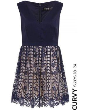 Little Mistress Curvy Navy Crochet Lace Plunge Mini Dress size: 18 UK,