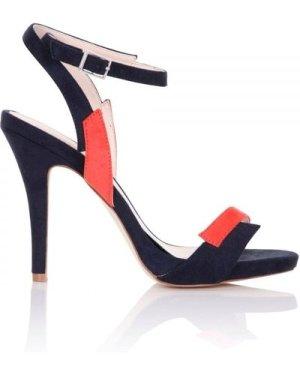 Paper Dolls Footwear Lightning Navy and Orange Contrast Sandals size: