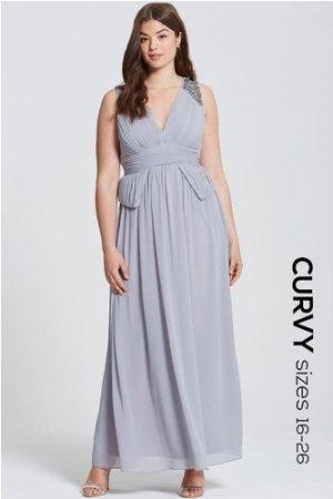 Little Mistress Curvy Grey Plunge Peplum Maxi Dress size: 22 UK, colou