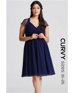 Little Mistress Curvy Navy Embellished Prom Dress size: 16 UK, colour: