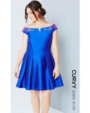 Little Mistress Curvy Cobalt Mini Prom Dress With Jewels size: 24 UK,