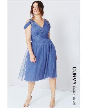 Little Mistress Curvy Lavender Grey Drape Shoulder Midi Dress size: 22
