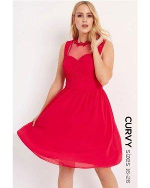 Little Mistress Curvy Cherry Applique Prom size: 24 UK, colour: Pink
