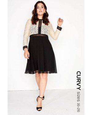 Little Mistress Curvy Cream Lace Dress size: 26 UK, colour: Black / Be