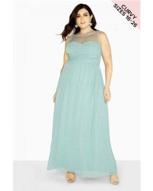 Little Mistress Curvy Sage Maxi Dress size: 26 UK, colour: Sage