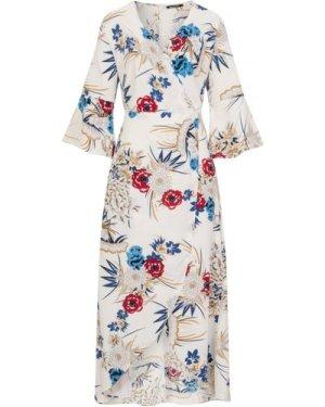 White Print Midi Dress  size: S, colour: Print