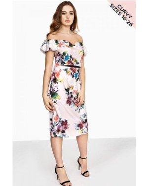 Little Mistress Curvy Floral Bodycon Dress size: 18 UK, colour: Print