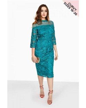 Little Mistress Curvy Jade Bodycon Dress  size: 20 UK, colour: Jade