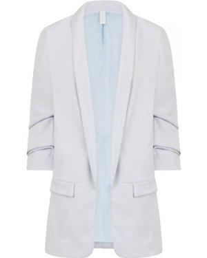 Clover Ruched Sleeve Blazer size: M, colour: Powder Blue