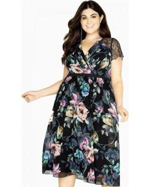 Little Mistress Curvy Floral Lace Midi Dress size: 22 UK, colour: Mult