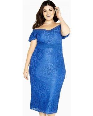 Little Mistress Curvy Blue Lace Bodycon size: 16 UK, colour: Cobalt
