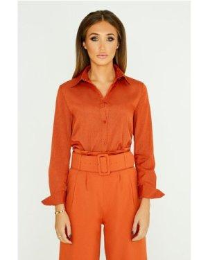 Studio Mouthy Classic Shirt In Burnt Orange size: 14 UK, colour: Burnt