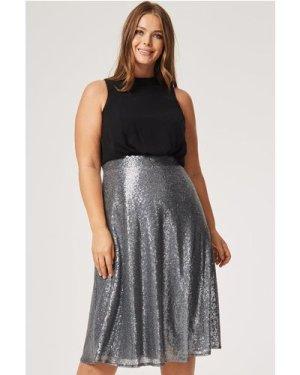Little Mistress Curvy Celine Sequin Skirt Dress size: 24 UK, colour: S
