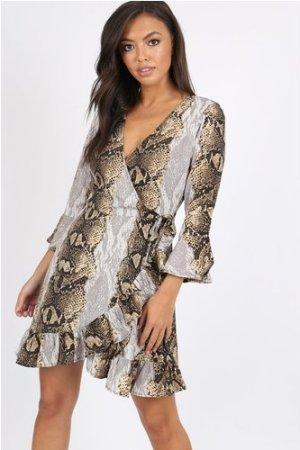 Spell Snake Wrap Dress size: 10 UK, colour: Snake Print