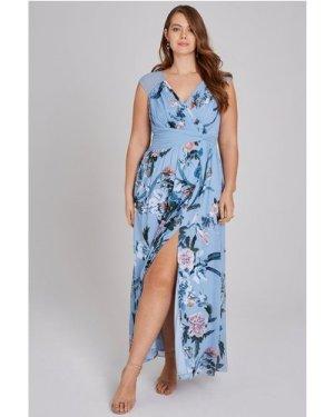 Little Mistress Curvy Rori Blue Floral Maxi Dress size: 18 UK, colour:
