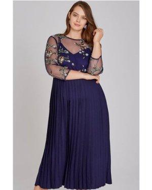 Little Mistress Curvy Maja Navy Floral Midaxi Pleat Dress size: 18 UK,