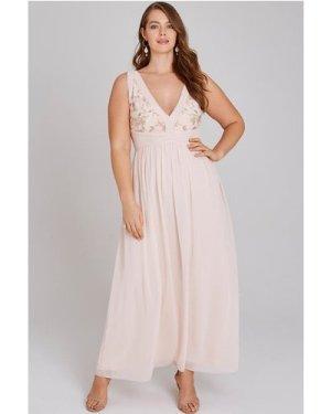 Little Mistress Curvy Cosette Nude Embroidery Maxi Dress size: 12 UK,
