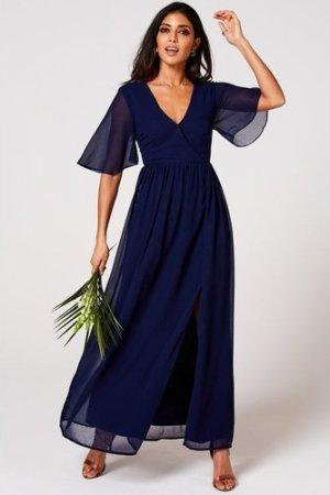 Rock n Roll Bride Iris Navy Mock Wrap Maxi Dress size: 10 UK, colour: