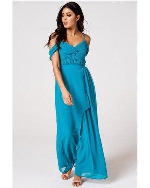 Rock n Roll Bride Cameo Blue Jewel Draped Maxi Dress size: 14 UK, colo