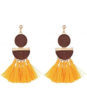 Mustard Tassel Pendant Earrings size: ONE SIZE, colour: Multi