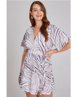 Girls On Film Curvy Florrie Zebra-Print Tea Dress size: 22 UK, colour: