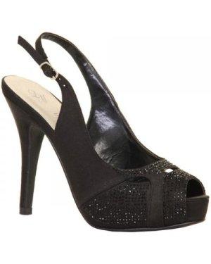 Paper Dolls Footwear Black Embellished Sling Back Peep Toe Heel  size: