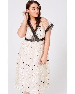 Little Mistress Curvy Eileen Buttercup Spot Mesh Midi Dress size: 26 U