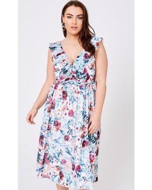 Little Mistress Curvy Ria Floral-Print Midi Dress size: 16 UK, colour: